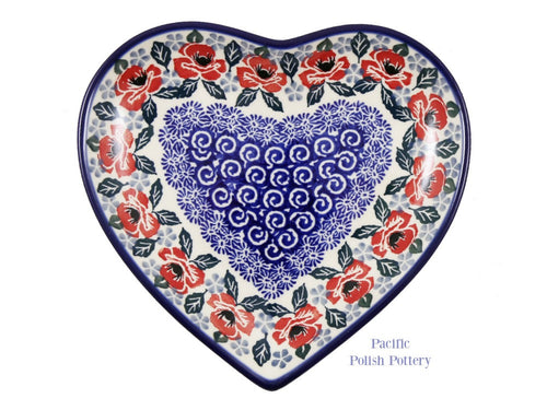 "7"" Heart Plate- Pattern 1490 - Pacific Polish Pottery  - 1"