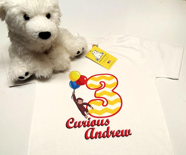 "Curious George Inspired Birthday Shirt - Curious ""Your Name Here""  and Age - in Baby and Toddler Sizes"