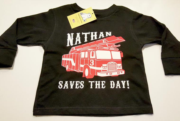 "Firetruck ""Saves The Day!"" with Your Child's Name and Age"