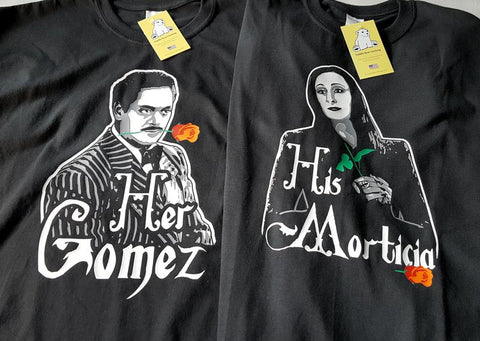 Gomez & Morticia Addams - His & Her Couples Black Shirts