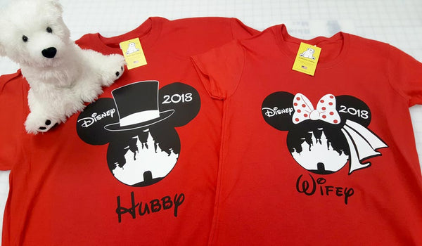 Disney 2018 Mickey and Minnie with Princess Castle Hubby and Wifey - His & Her Wedding Shirt set