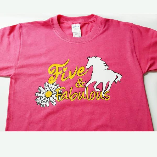 Fabulous Birthday Pony and Flower - in Toddler and Youth sizes