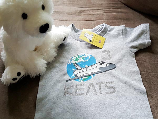 NASA inspired Space Shuttle over the Earth with Name & Age Personalization on Toddler T-shirt