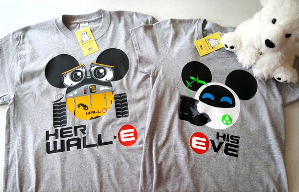 Her WALL-E and His EVE Couples Shirts