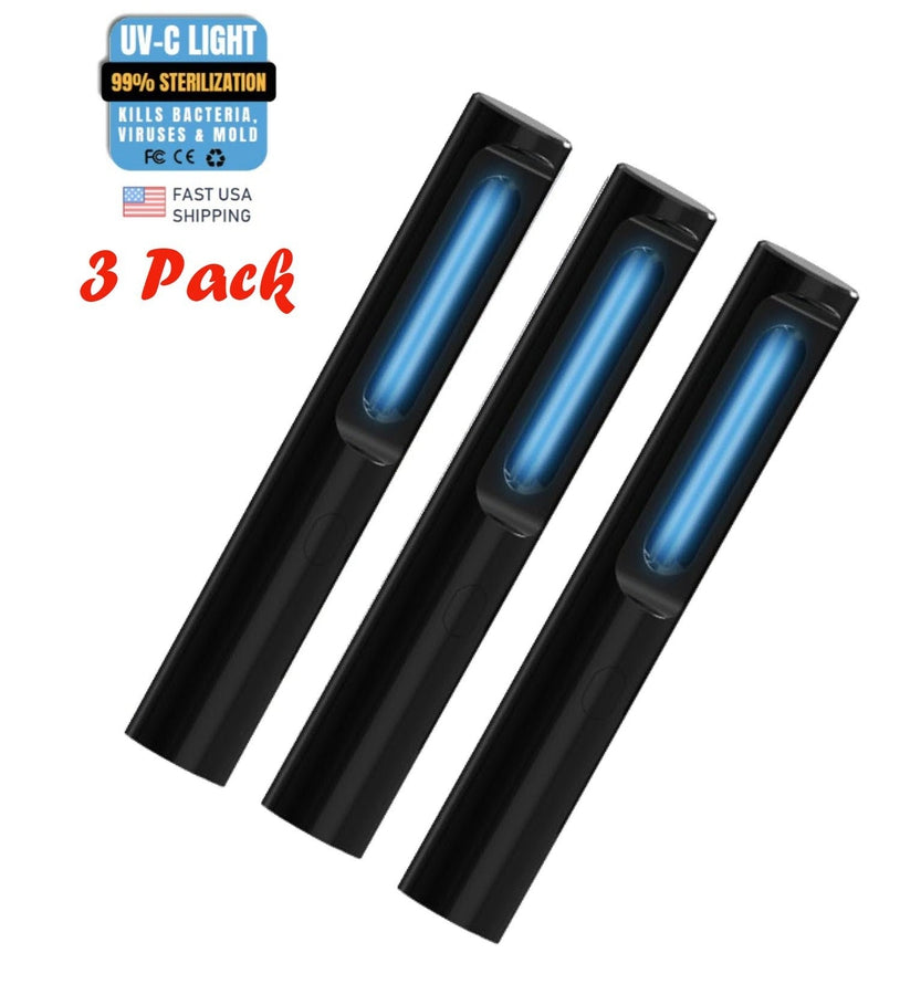 3 Pack UV Light Sanitizer Wand Rechargeable UVC Light Disinfectant - Best for Killing 99% of Germs, Viruses, Bacteria, Mold (Black)