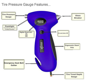 Glass breaker, tire pressure gauge, seat belt cutter, flashlight and tire tread gauge