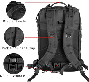 Military Tactical Backpack - Large Army 3 Day Assault Pack Molle Bag Rucksack (Black)