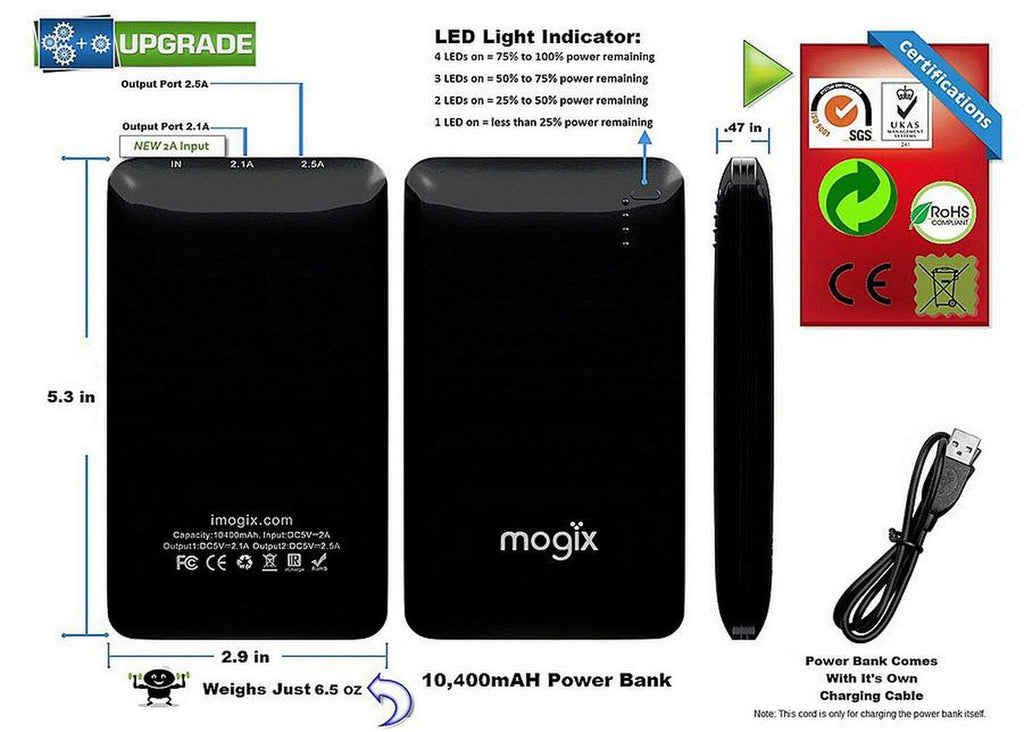Portable Cell Phone Battery Charger Universal 10400mAh For iphone, ipad, Samsung, HTC, Any Tablet/phone, etc.