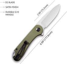 "Load image into Gallery viewer, CIVIVI Knives Elementum Folding Pocket Knife 2.96"" D2 Satin Blade,G-10 Handles C907E (Green)"