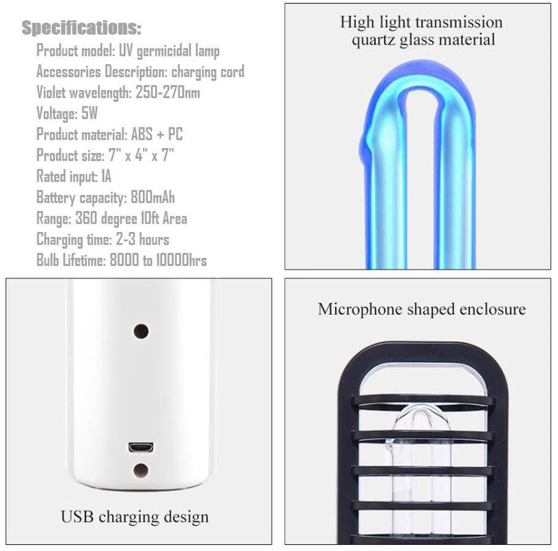 UV Light Sanitizer Lamp Rechargeable UVC Germicidal Travel Disinfectant Tech with 360 Area