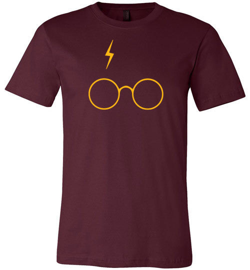 Bolt and Glasses (Gold on Maroon)