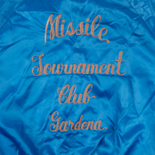 "Vintage ""Missle Tournament Club"" Blue Satin Nylon Jacket"