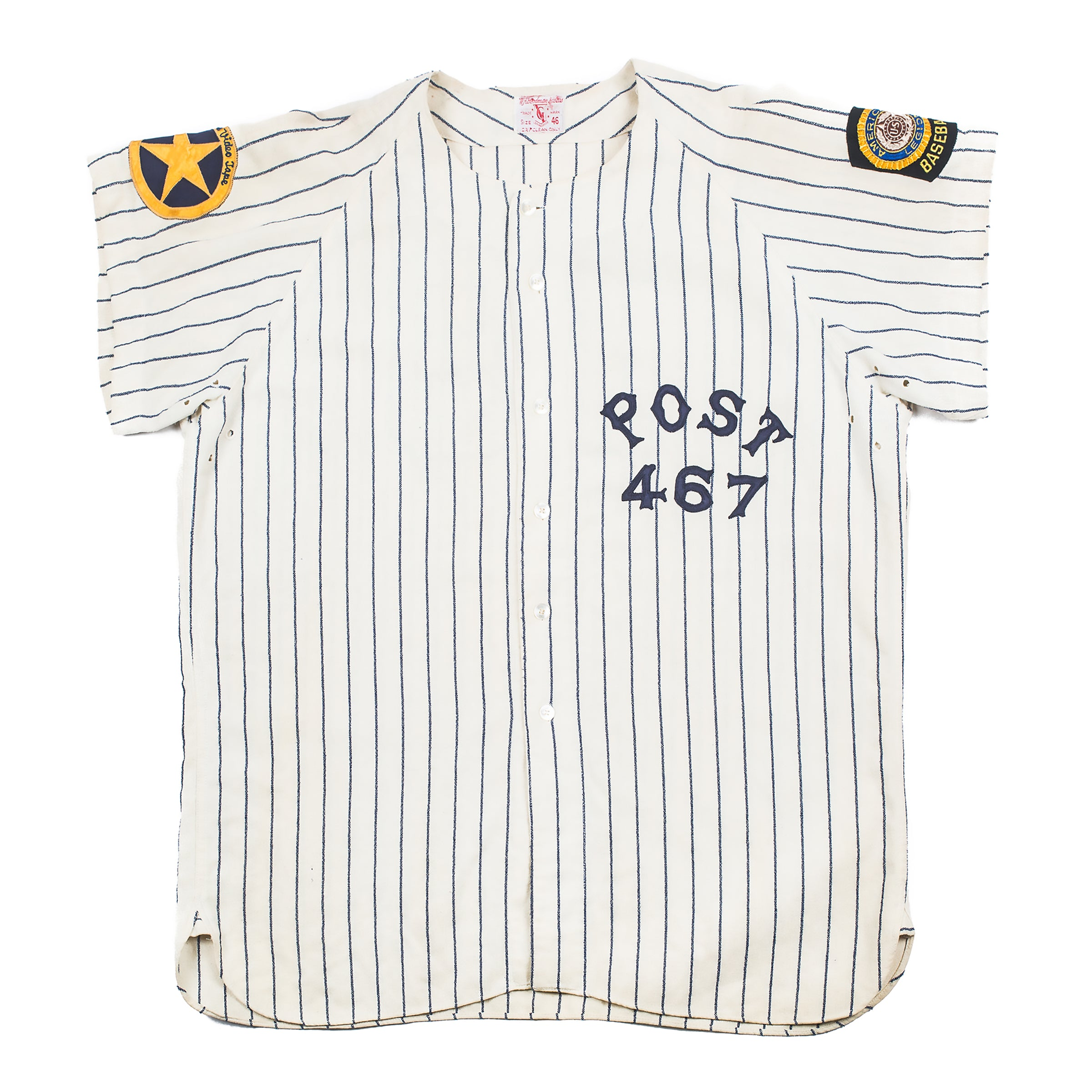 c70ffc6b77 Vintage Goodman and Sons - Post 467 Pinstripe Baseball Jersey – Better™  Gift Shop