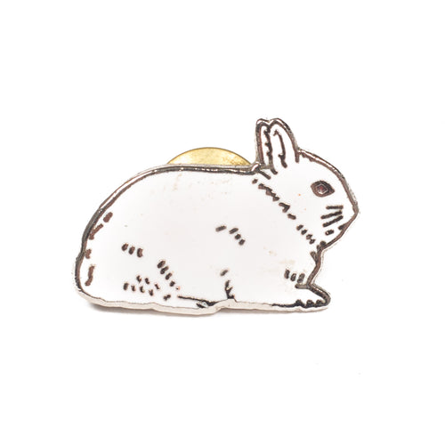Vintage White Rabbit Lapel Pin