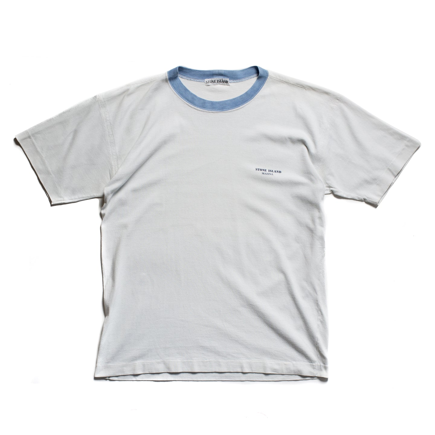 S/S 1989 White Baby Blue Collar Marina Spellout T-Shirt