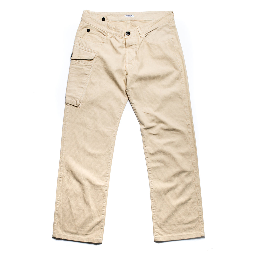 A/W 2006 Beige MultiPocket Fine Stripe Cargo Trousers