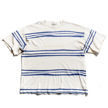 Load image into Gallery viewer, S/S 1996 White Blue Striped Waxed Spellout T-Shirt