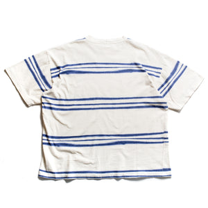 S/S 1996 White Blue Striped Waxed Spellout T-Shirt