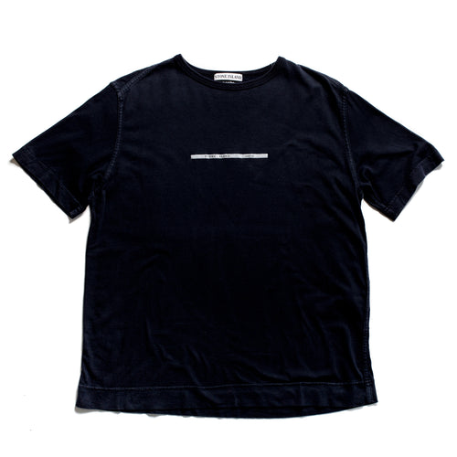 S/S 2000 Navy Plastic Strip Spellout T-Shirt