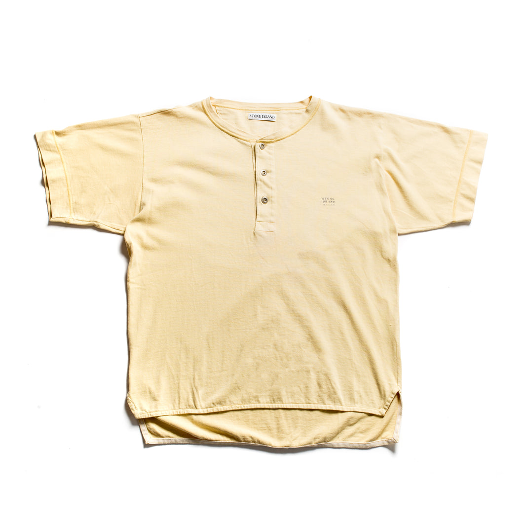 S/S 1990 Yellow Button Down Marina Spellout T-Shirt