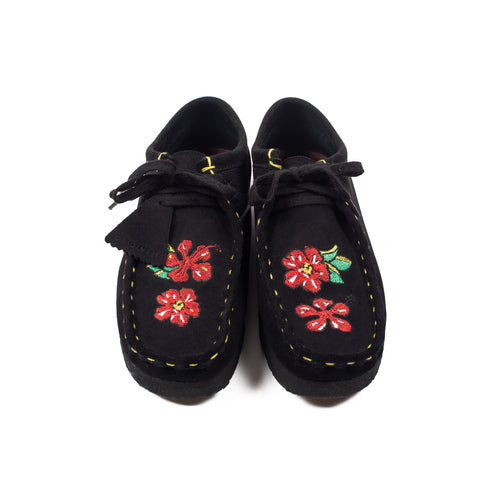"Better™️Gift Shop ""Souvenir - Flowers"" Re-Purpose Black Suede Clarks® Wallabees"
