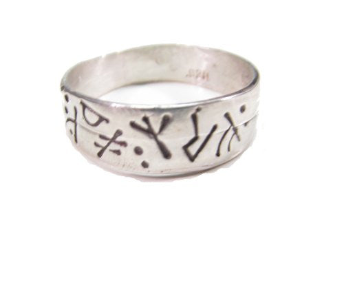 Sterling Silver Medieval Viking Futhark Runic Ring With Runes