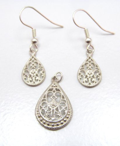 Sterling Silver Celtic Filigree Earrings and Pendant Set
