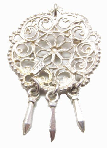 Sterling Silver Scandinavian Filigree Pendant with Dangles