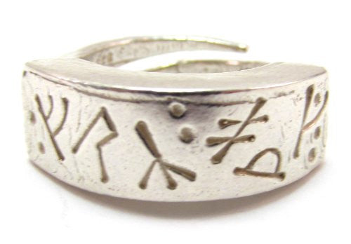 Sterling Silver Medieval Futhark Runic Ring with Runes