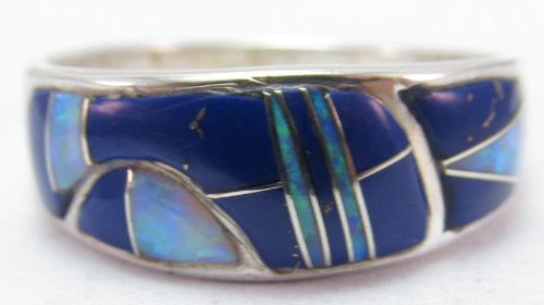 Sterling Silver Southwestern Opal and Lapis Ring