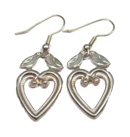 Sterling Silver Heart and Dove Earrings