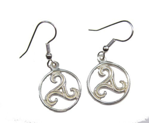 Sterling Silver Circular Triskele Earrings