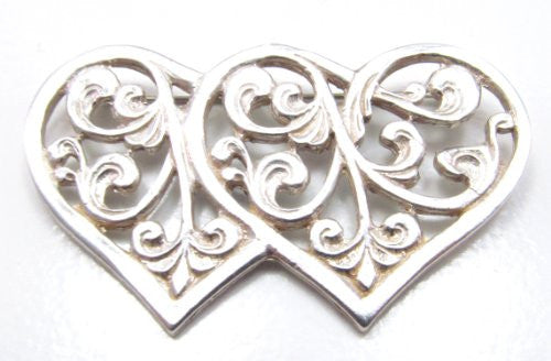 Sterling Silver Double Filigree Heart Pin