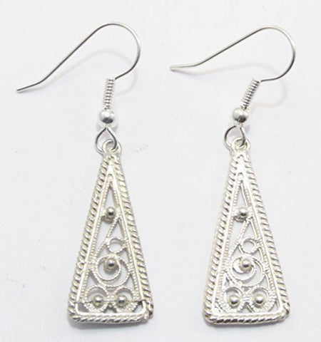Sterling Silver Celtic Scandinavian Filigree Triangle Earrings