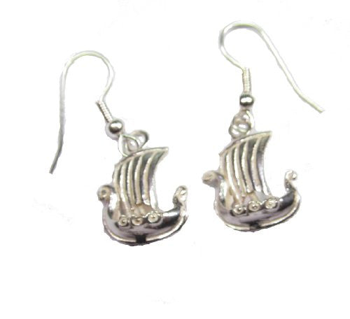 Sterling Silver 3D Viking Ship Earrings