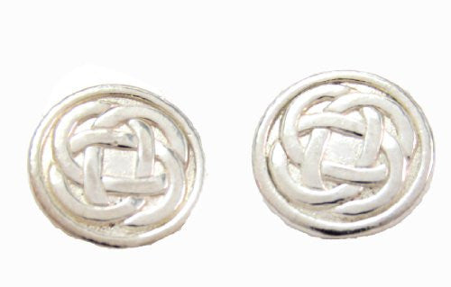 Sterling Silver Button Celtic Knot Earrings