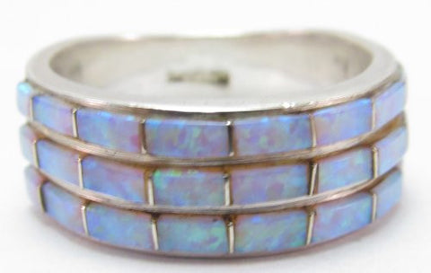 Southwestern Sterling Silver Ring with Opal Stones