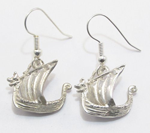 Sterling Silver Scandinavian Norse Viking Ship Earrings