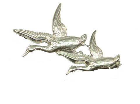 Sterling Silver Geese In Flight Brooch