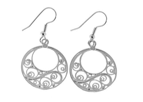 Sterling Silver Filigree Round Earrings