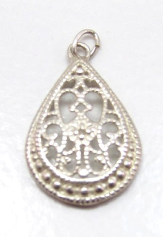 Sterling Silver Celtic Filigree Droplet Pendant