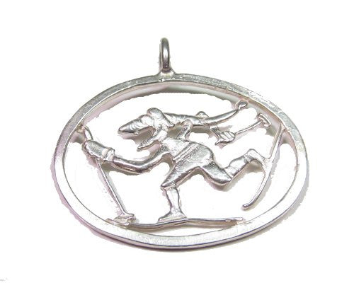 Sterling Silver Troll Cross Country Skier Pendant/ Ornament