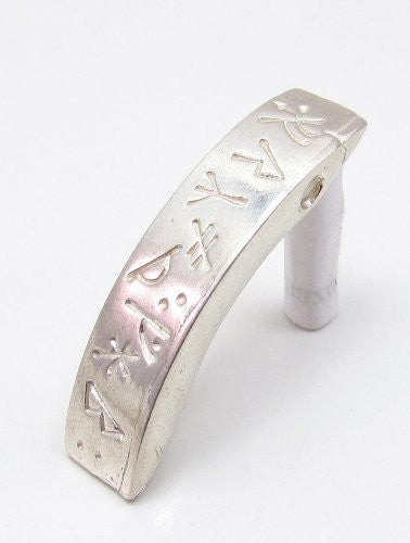 Sterling Silver Scandinavian Norse Viking Curved Runic Pendant