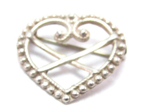 Sterling Silver Norwegian Ostfold Bunad Heart Pin