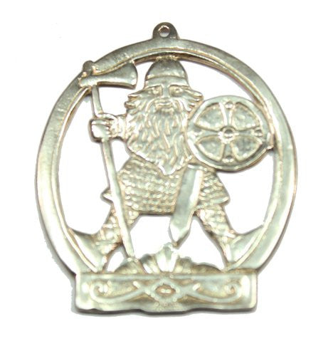 Sterling Silver Two Sided Viking Warrior Pendant / Ornament