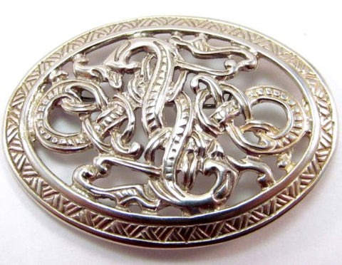 Sterling Silver Ornate Mythological Celtic Scandinavian Serpent Pin
