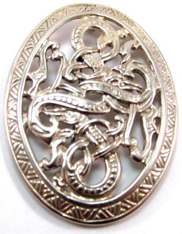 Sterling Silver Ornate Mythological Viking Scandinavian Celtic Serpent Pendant