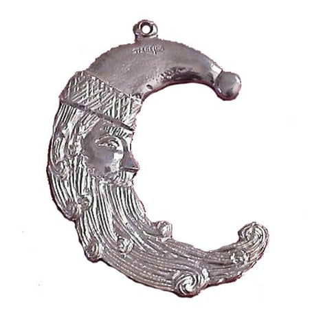 Sterling Silver Half Moon Santa Ornament