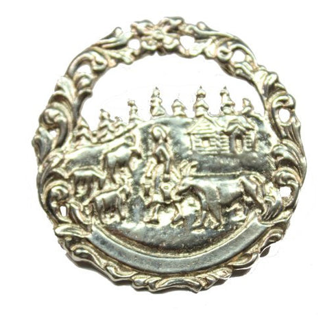 Sterling Silver Farm Scene Brooch