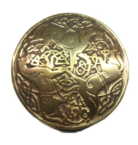 Bronze Three Horse Celtic Knot Brooch